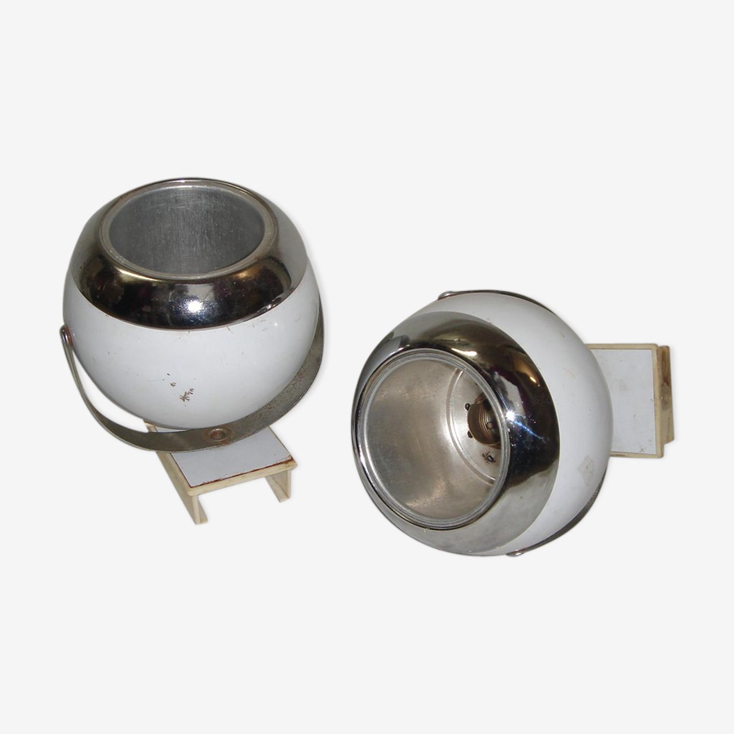 2 appliques eye ball blanche de 1970, space age