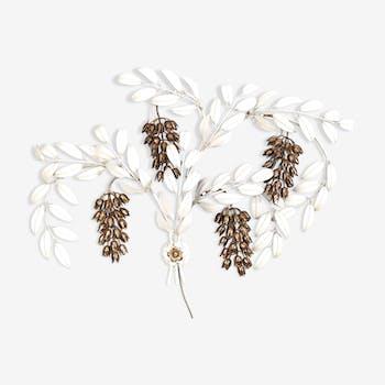 Applique blanche laquée métal et laiton floral Italie années 1980