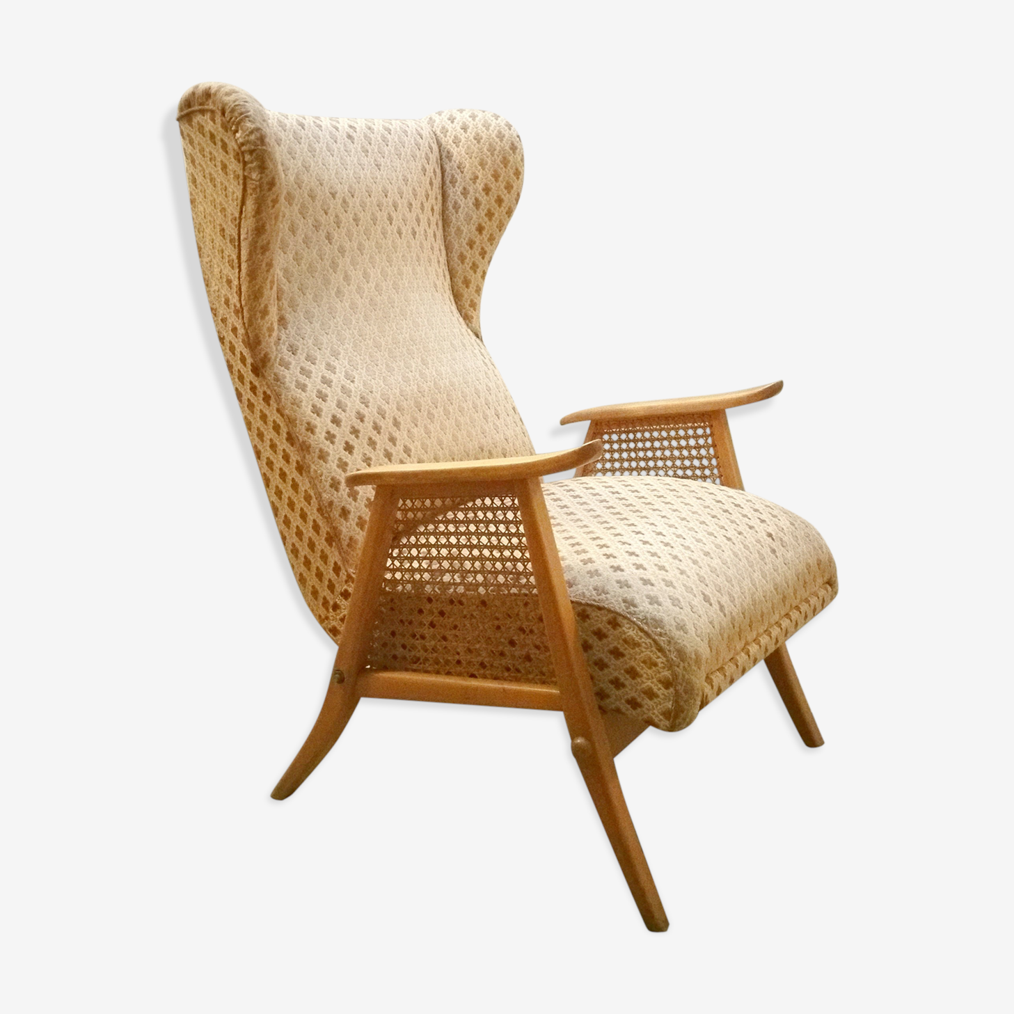 Fauteuil wing chair a oreilles et a systeme relaxation années 50/60