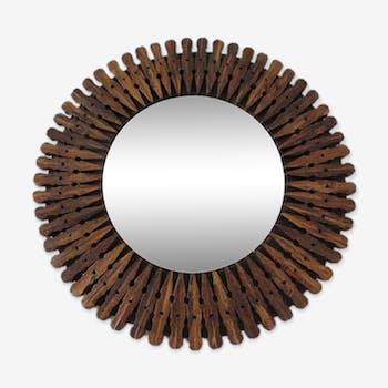 Miroir soleil en bois des années 70 - 35 x 35 cm