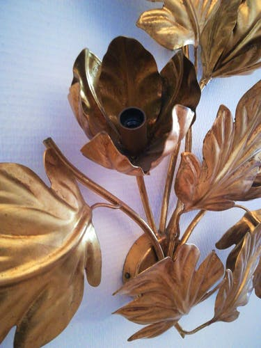 Applique florale dorée de la Maison Masca Italy circa 1970