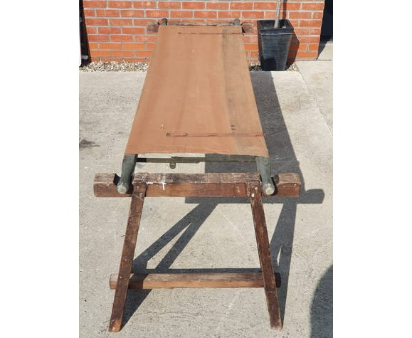 Mid century 1950s canvas army stretcher & supporting trestles