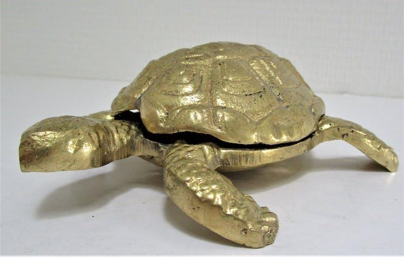 Cendrier zoomorphe tortue laiton vintage