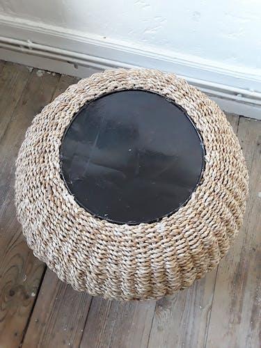 Cache pot vintage en fibre végétale