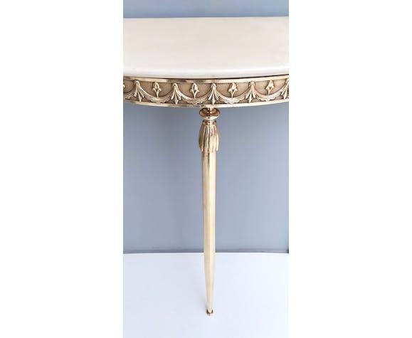 Table de console en laiton de demilune avec dessus de marbre rose portugais, italie 1950s