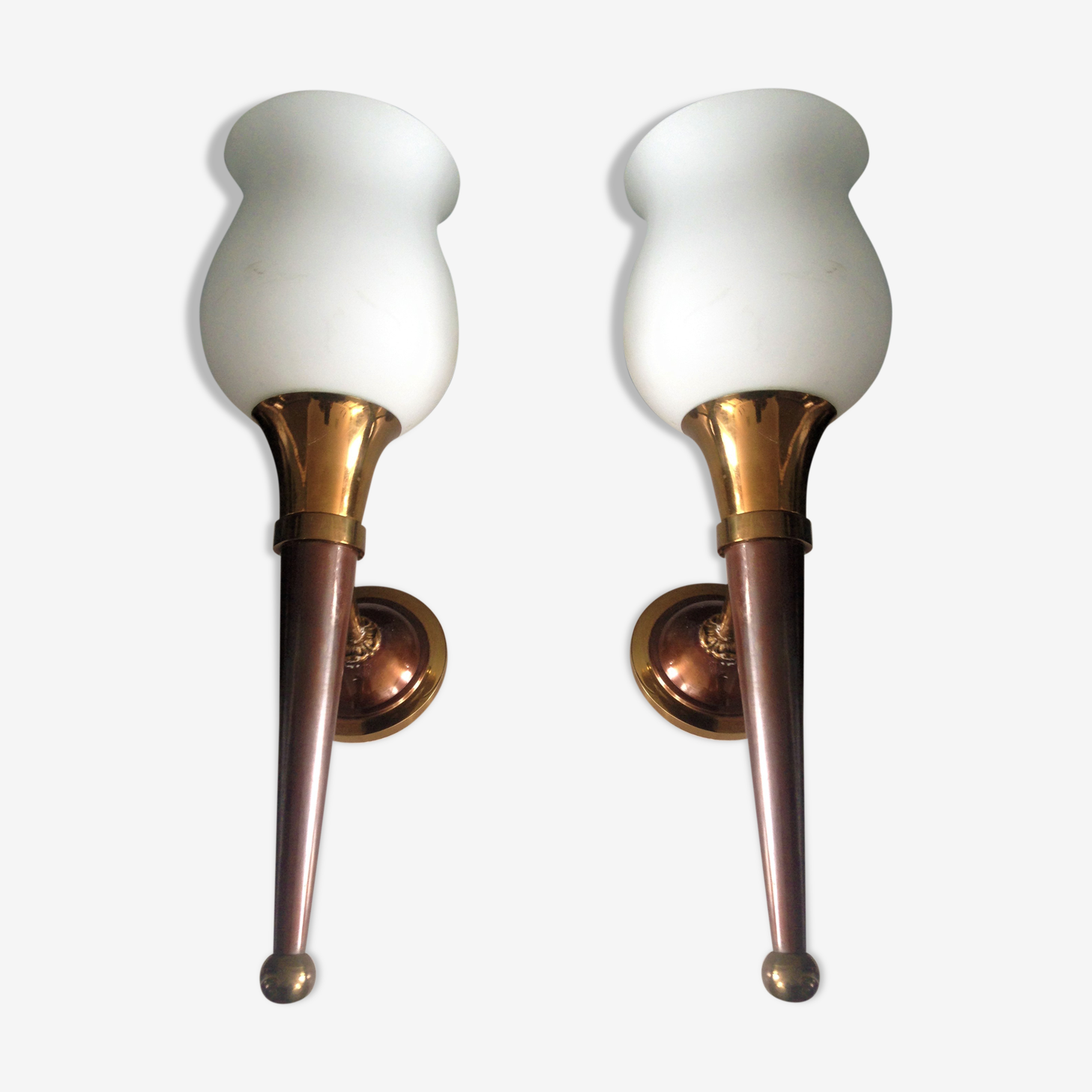 Pair of torch wall lamps