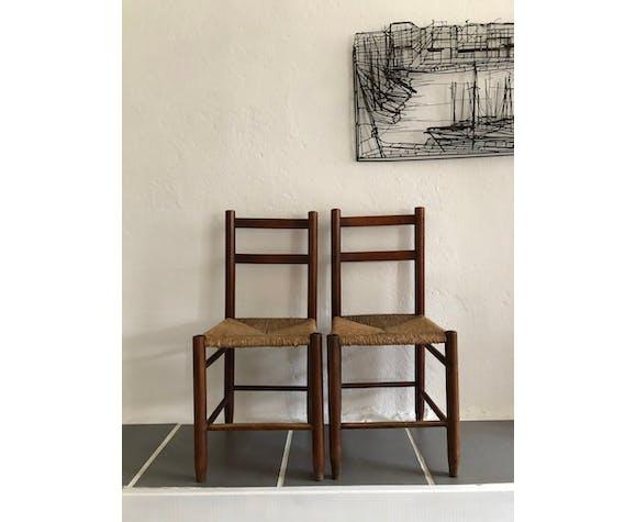Paire de chaises paillées vintage