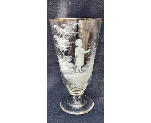Set de 4 verres sur pied Mary Gregory 1856-1908 émaillé blanc
