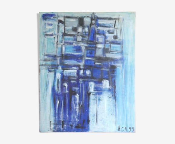 Abstract blue painting, 90