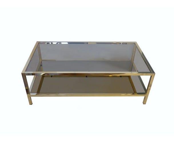 Table basse en métal doré à deux plateaux verre et miroir années 70
