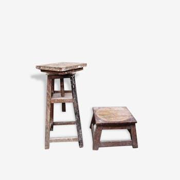 Deux sellettes de sculpteur en bois