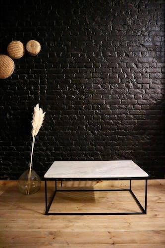 Table basse en métal et marbre