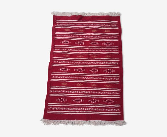 Kilim berbère rouge blanc et noir en pure laine 95x65cm