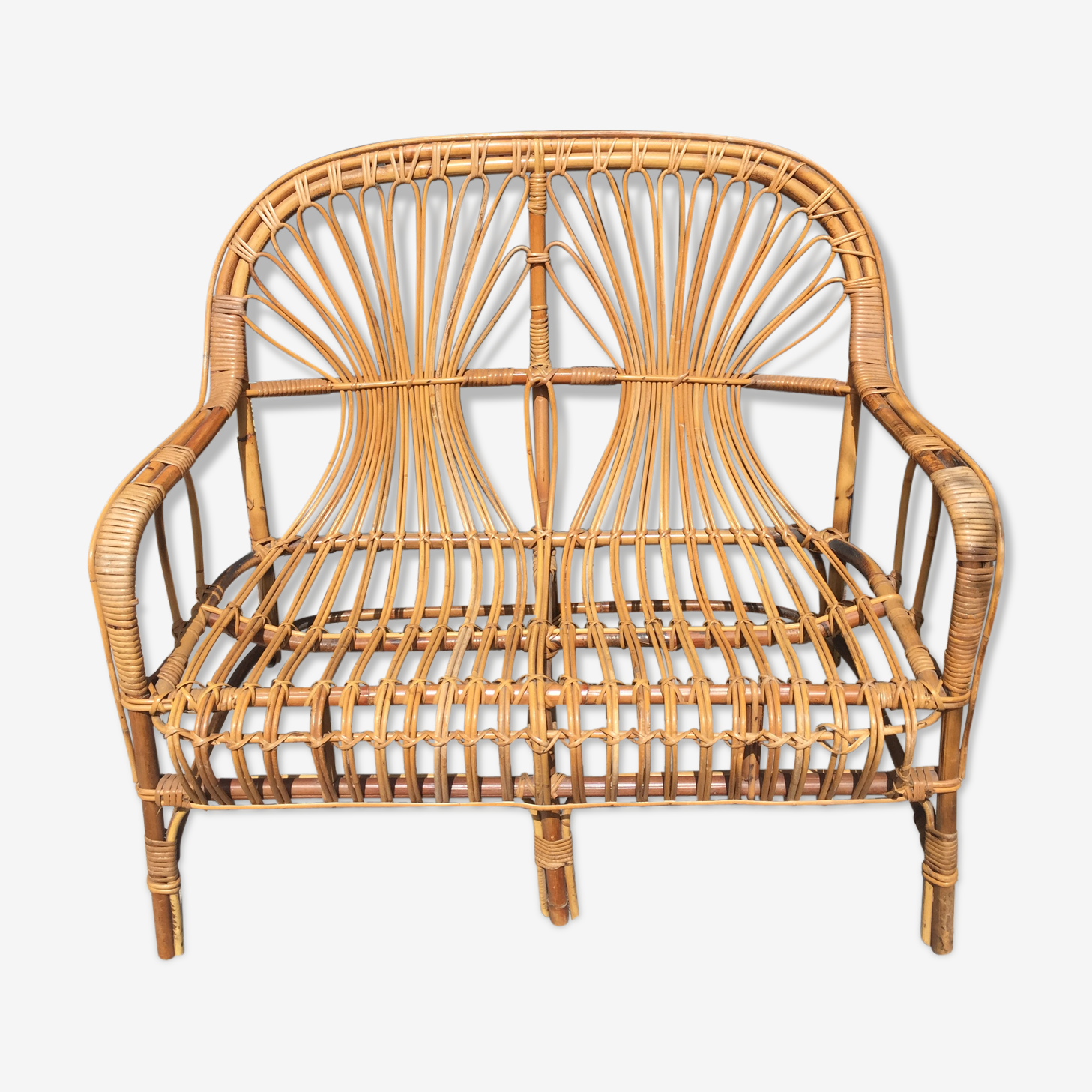 Vintage rattan and bamboo bench