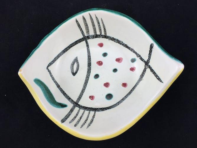 2 coupelles en céramique Jacques Pouchain, Poet Laval, vide poche, poisson