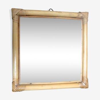 Miroir rotin carré 31x31cm