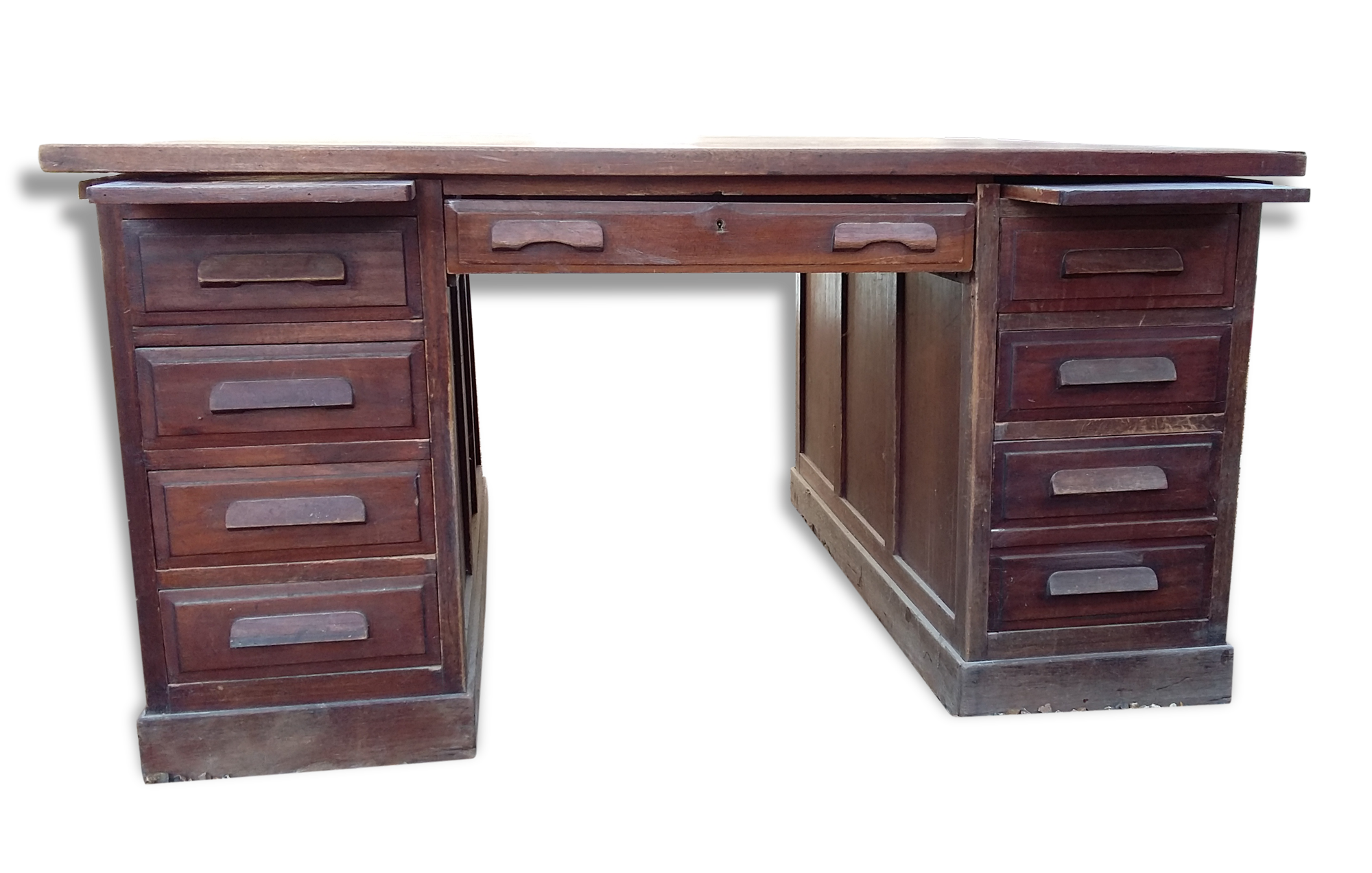 Grand bureau américain double face wood brown vintage