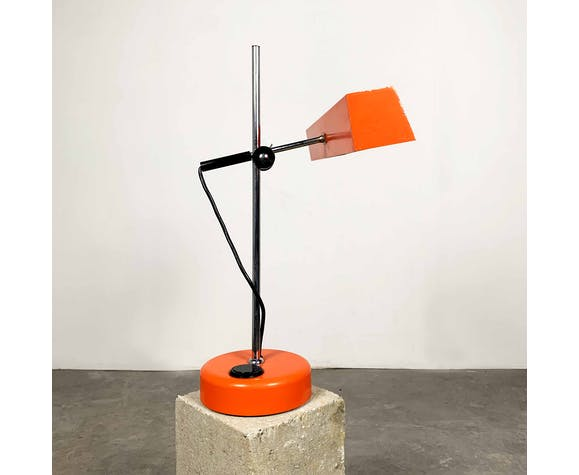 Orange metal office lamp, 1960