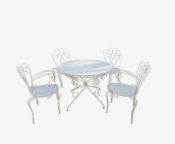 ancien salon de jardin en fer forg fer blanc vintage 165373. Black Bedroom Furniture Sets. Home Design Ideas