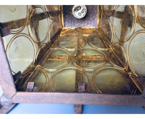 Suspension ancienne acier massif et vitrage jaune à ornement rond