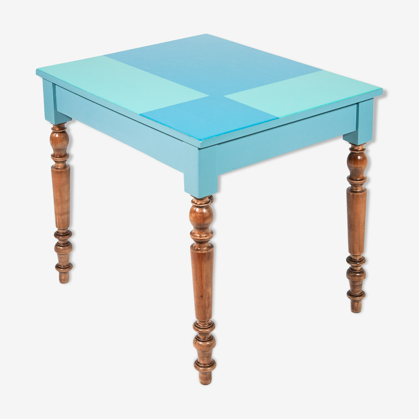 Rectangular table in blue and green wood and rustic feet