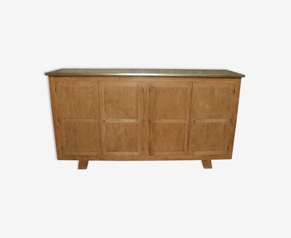 Buffet solid oak with a brass top