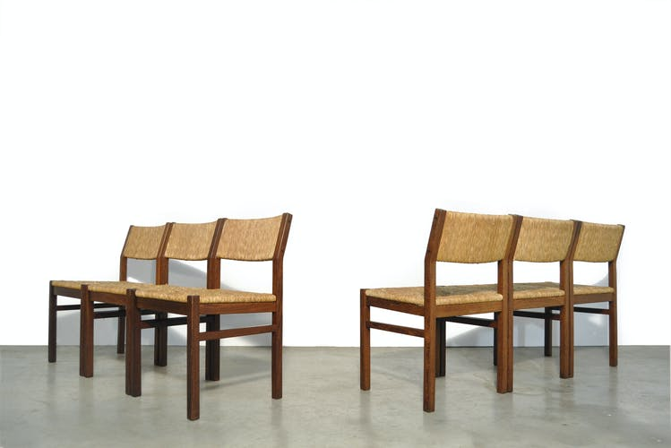 Lot de 6 chaises de salle à manger d'époque avec siège en roseau de Pastoe, années 1970