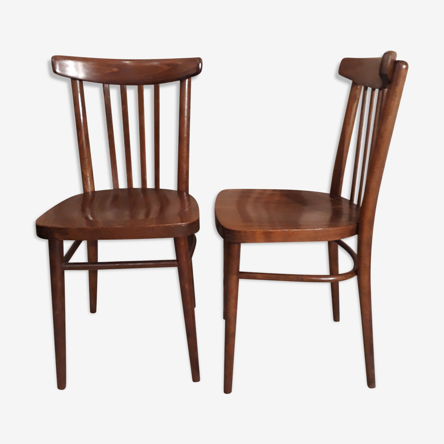 """Paire de chaises """"bistrot"""" style scandinave moderniste fabrication tchécoslovaquie"""