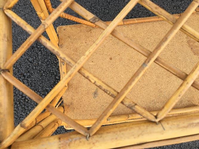 Table de chevet en rotin 60'S