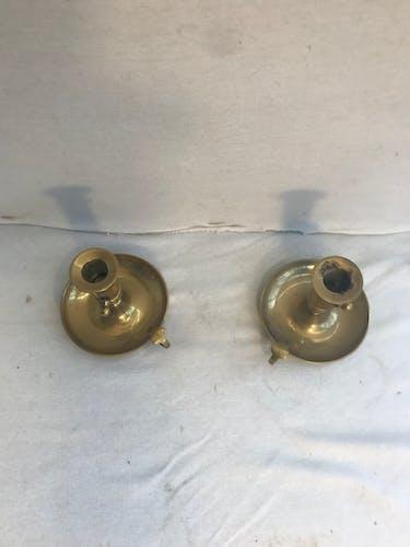 Paire de bougeoirs a main laiton doré hauteur réglable