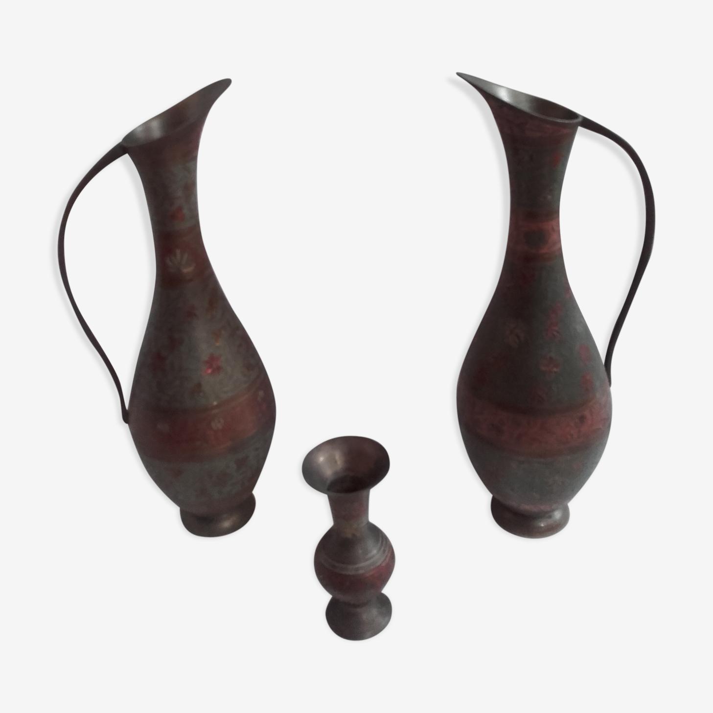 Lot de 3 vases India
