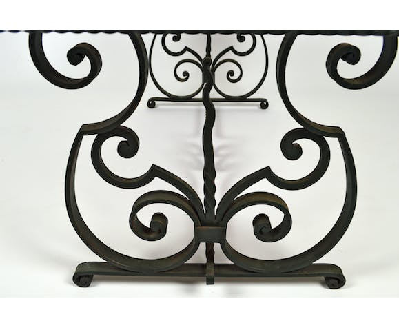 Wrought Iron Coffee Table With Marble Tray Circa 1940 Marble