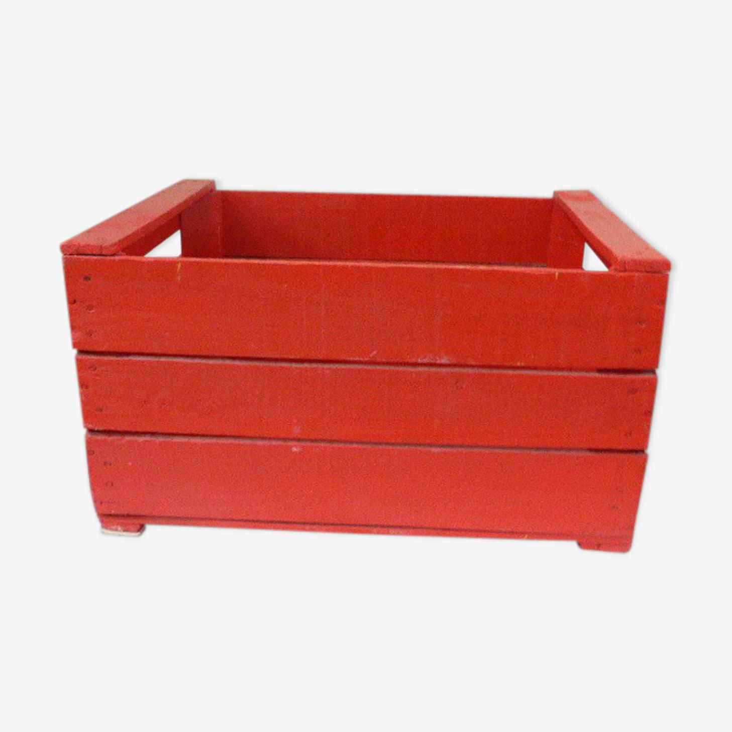 Caisse en bois vintage rouge