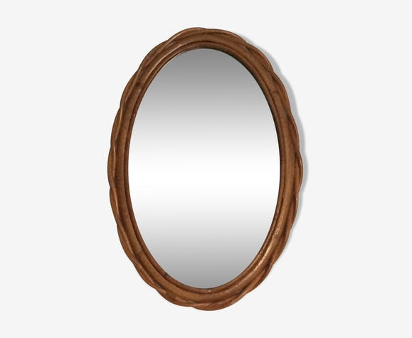 Miroir ovale en rotin des années 60, 40x26 cm
