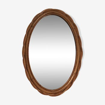 Oval mirror in rattan from the 60s, 40x26 cm