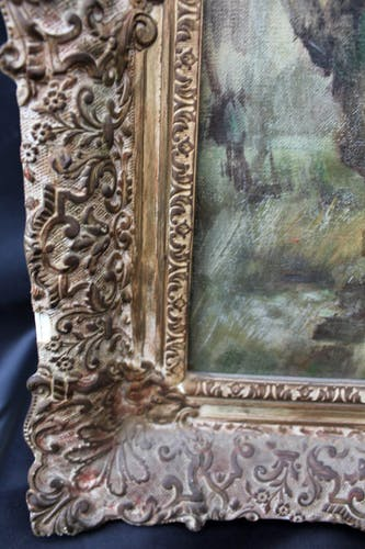 Antique oil painting on canvas and wood frame, country scene