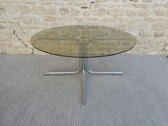 Table basse ronde en métal chromé et verre fumé