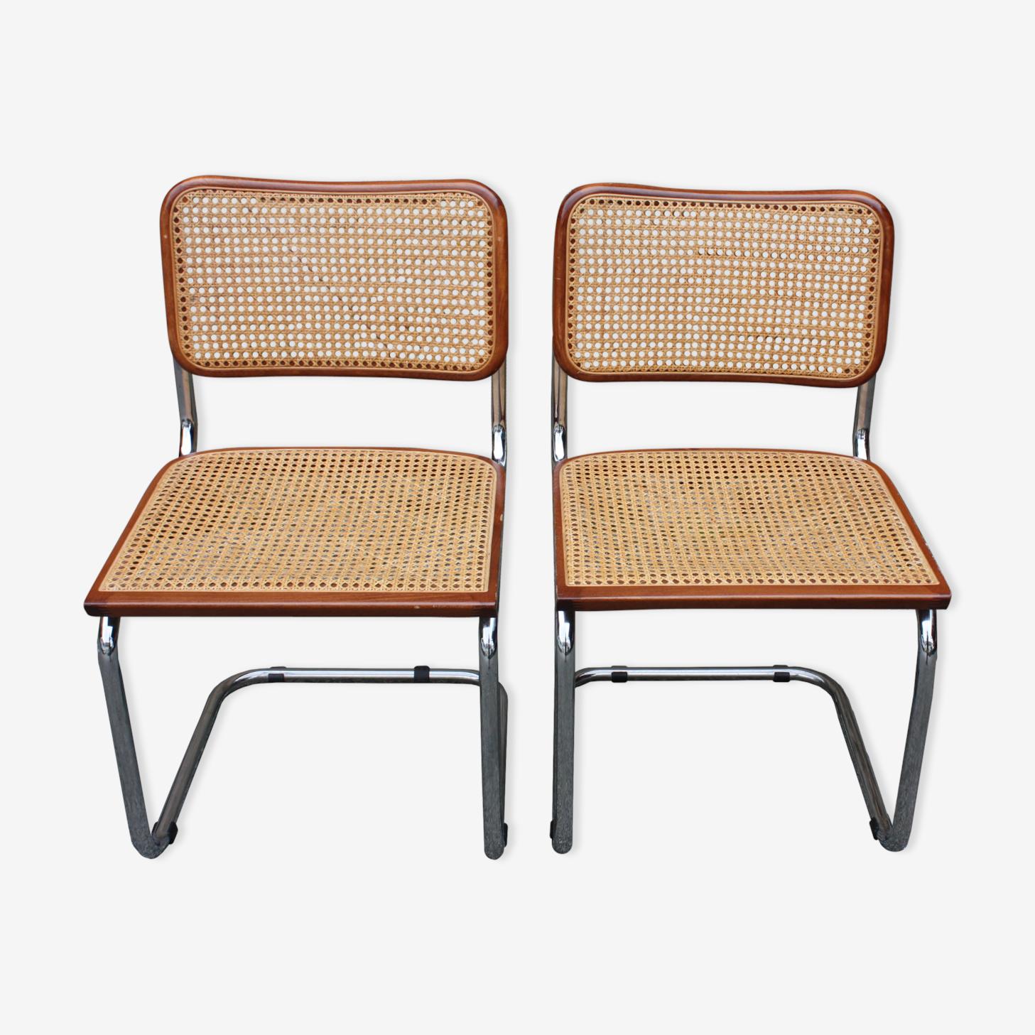Paire de chaises B 32 Marcel Breuer couleur noyer