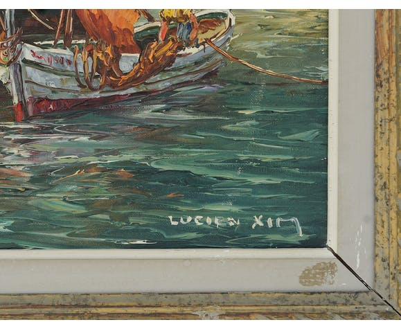 "Lucien XIM oil on framed canvas ""sailing in port"""