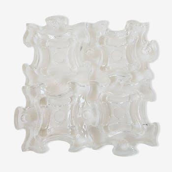 Suite de 4 cendriers bougeoirs puzzle en verre des années 70