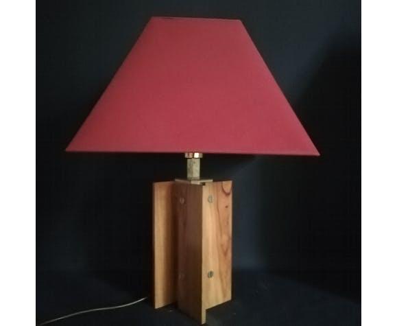 Lampe de chez Sciolari en laiton et bois 1960