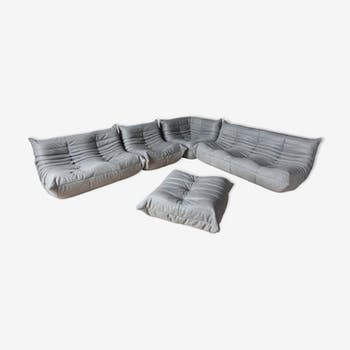 """Set de canapé """"Togo"""" en cuir gris par Michel Ducaroy pour Ligne Roset"""