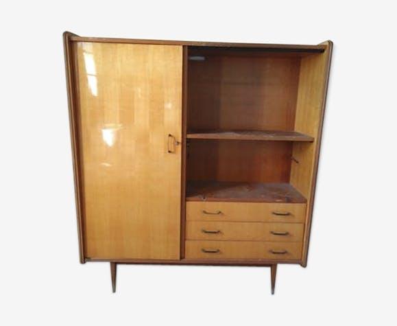 buffet vintage scandinave en bois couleur teck bois. Black Bedroom Furniture Sets. Home Design Ideas