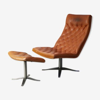 Danish leather armchair and footrest from the 1970
