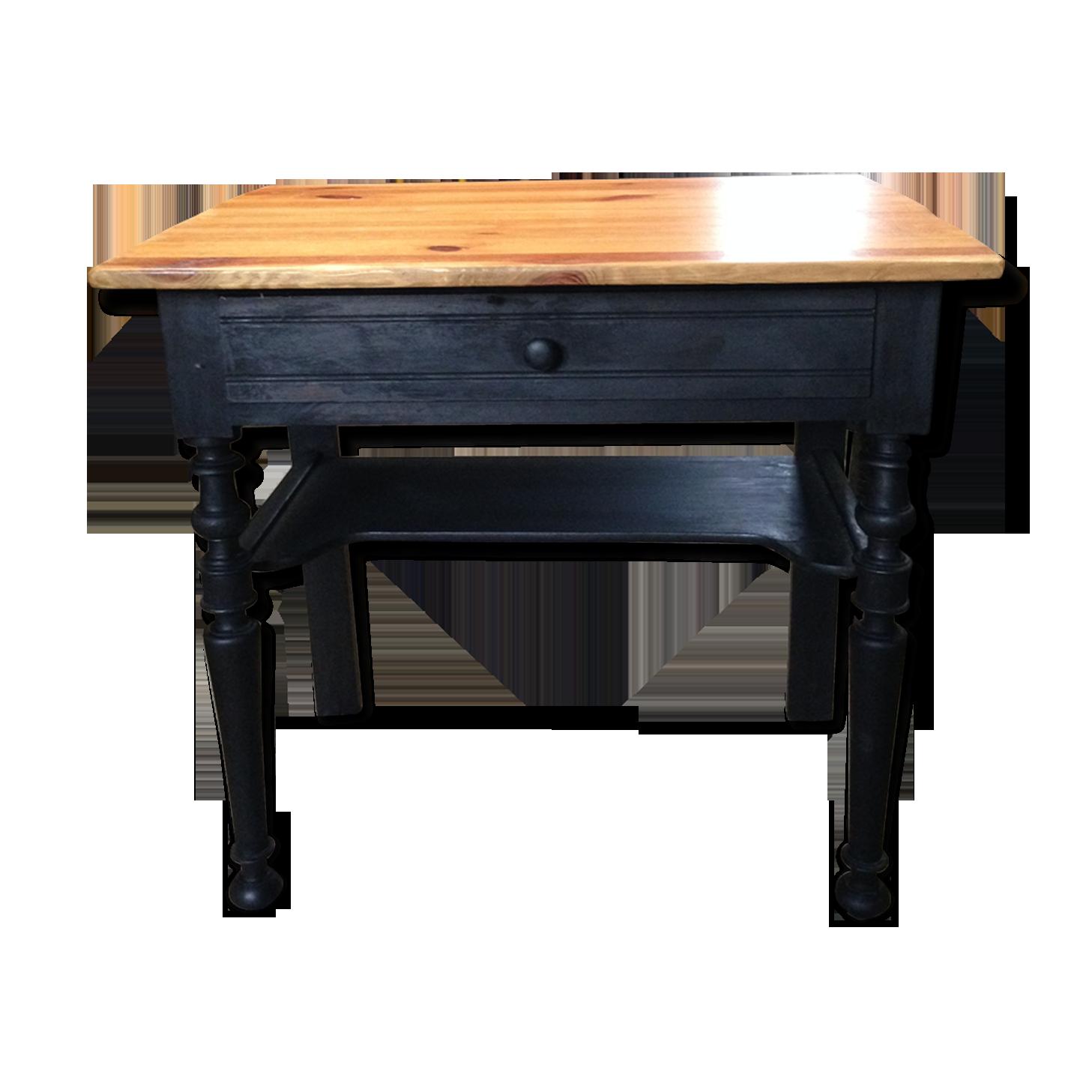 Bureau noir et bois bois matériau noir industriel w i srb