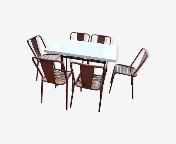 Salon de jardin 6 chaises Tolix T4 et une table de bar ...