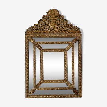 Napoleon III brass mirror 46x73cm