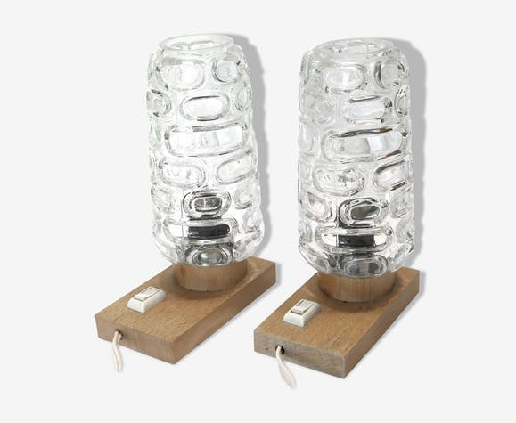 Paire de lampe en bois naturel (hêtre) années 60's globes verre