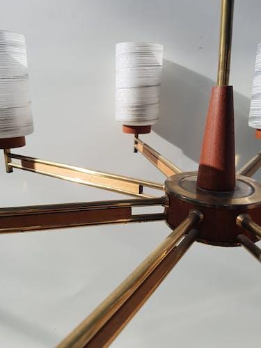 Lustre danois, bois et laiton, années 60