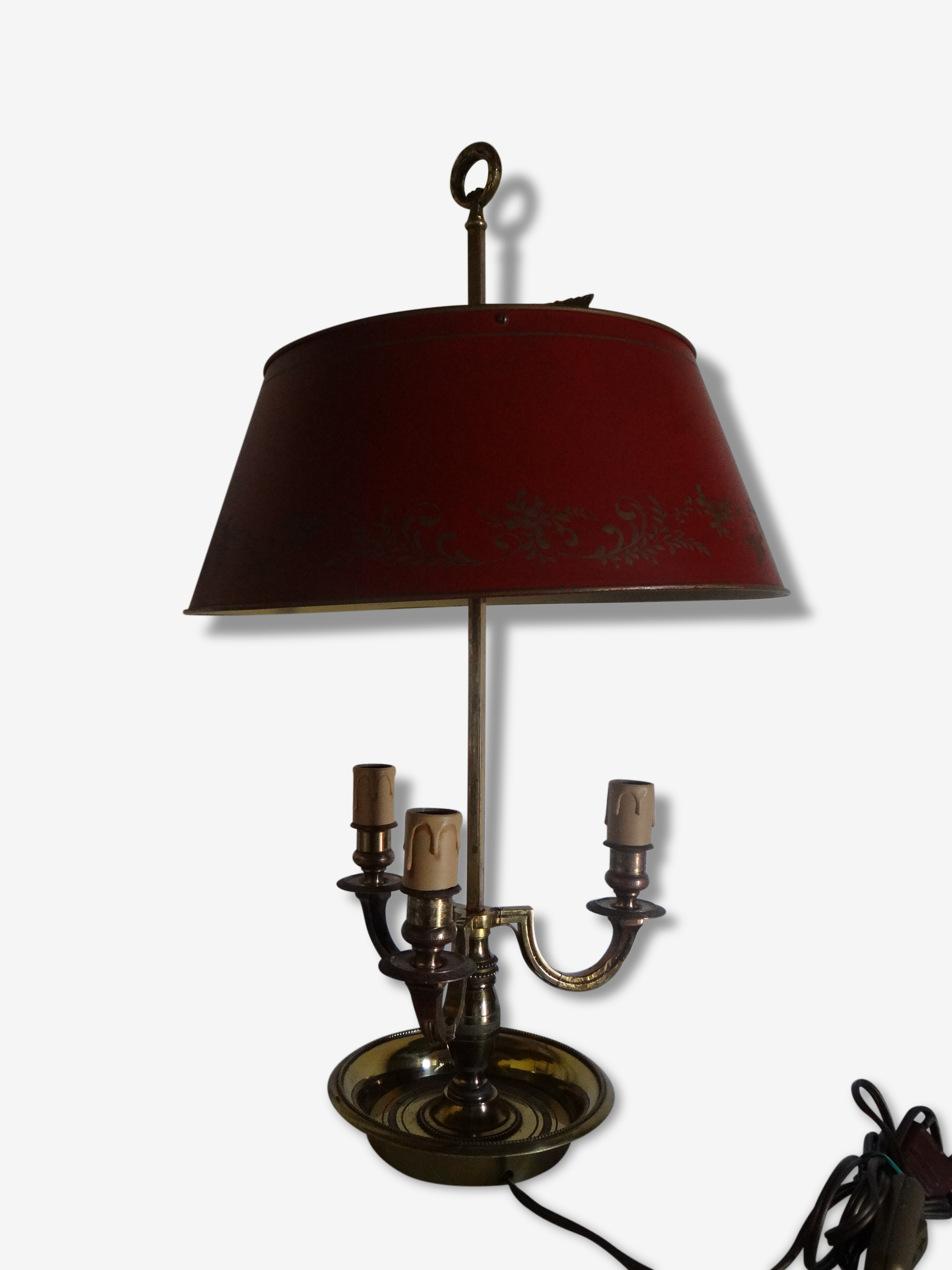 Lampe Bouillotte Style Empire 3 Lumieres Abat Jour Tole Rouge
